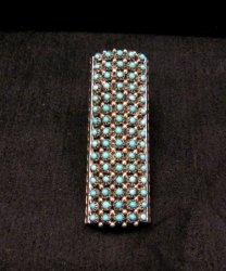 Zuni 2-inch 15row 75stone Turquoise Snake Eye Ring, Steven Haloo sz6-1/2