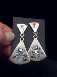 Zuni Multigem Inlay Blue Jay Earrings, Sanford Edaakie