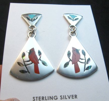 Image 3 of Zuni Cardinal 2-Pc Silver Dangle Earrings Turquoise Flower Tops, Sanford Edaakie
