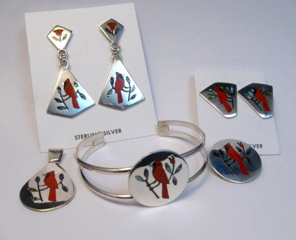 Image 4 of Zuni Cardinal 2-Pc Silver Dangle Earrings Turquoise Flower Tops, Sanford Edaakie