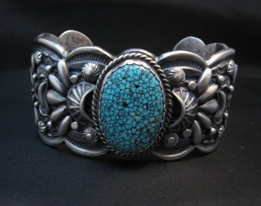 Image 1 of Heavy Navajo Native American Kingman Web Turquoise Bracelet, Gilbert Tom
