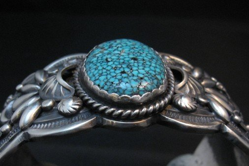 Image 2 of Heavy Navajo Native American Kingman Web Turquoise Bracelet, Gilbert Tom