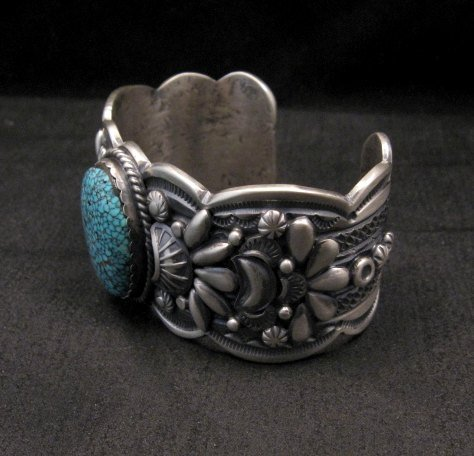 Image 1 of Heavy Navajo Native American Kingman Web Turquoise Bracelet, Gilbert Tom