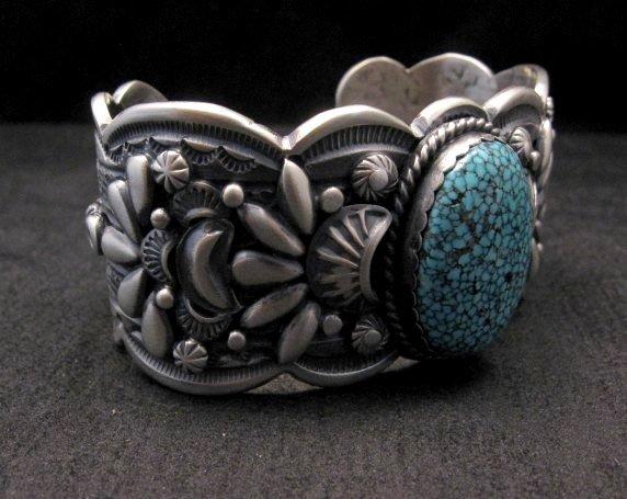 Image 3 of Heavy Navajo Native American Kingman Web Turquoise Bracelet, Gilbert Tom
