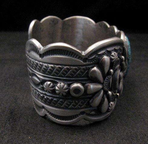 Image 4 of Heavy Navajo Native American Kingman Web Turquoise Bracelet, Gilbert Tom