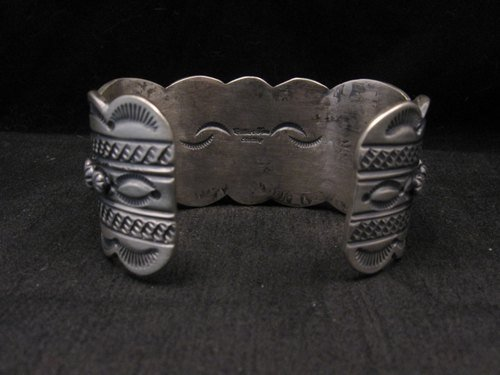Image 5 of Heavy Navajo Native American Kingman Web Turquoise Bracelet, Gilbert Tom