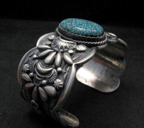 Image 6 of Heavy Navajo Native American Kingman Web Turquoise Bracelet, Gilbert Tom