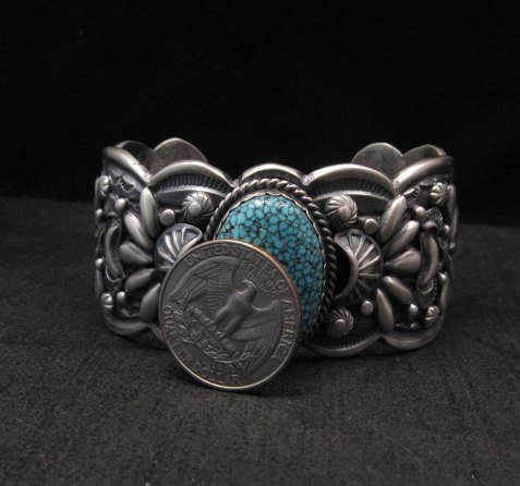 Image 7 of Heavy Navajo Native American Kingman Web Turquoise Bracelet, Gilbert Tom