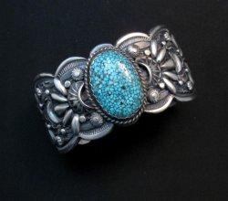 Heavy Navajo Native American Kingman Web Turquoise Bracelet, Gilbert Tom