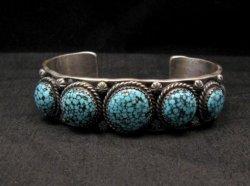 Navajo Native American Kingman Web Turquoise Row Bracelet, Gilbert Tom