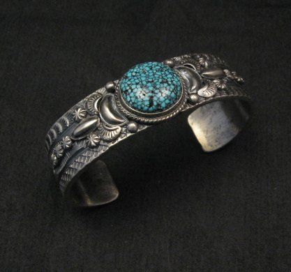 Image 2 of Navajo Native American Kingman Web Turquoise Silver Bracelet, Gilbert Tom