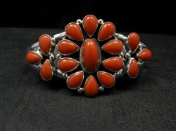 Navajo Native American Silver & Coral Cluster Bracelet, Renell Perry
