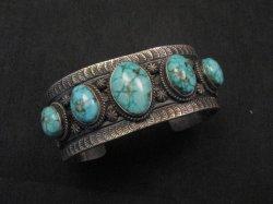 Navajo Native American Bird's Eye Turquoise Silver Bracelet, Gilbert Tom