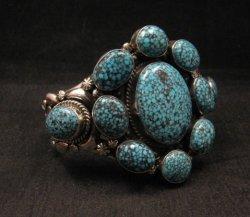 A++ Navajo Native American Kingman Web Turquoise Cluster Bracelet, Gilbert Tom