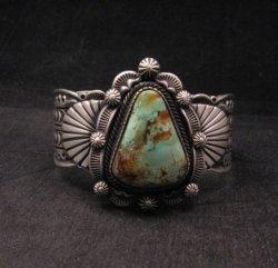 Navajo Turquoise Stamped Sterling Silver Cuff Bracelet, Bennie Ramone