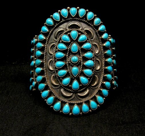 Image 0 of Huge Navajo Native American Silver & Turquoise Cluster Bracelet, Anthony Skeets