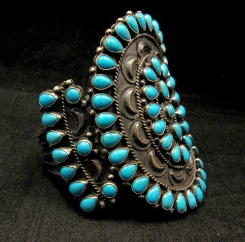 Image 2 of Huge Navajo Native American Silver & Turquoise Cluster Bracelet, Anthony Skeets