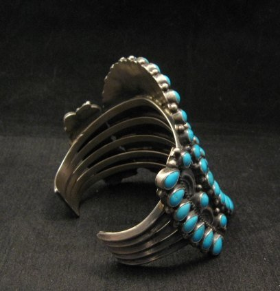 Image 3 of Huge Navajo Native American Silver & Turquoise Cluster Bracelet, Anthony Skeets