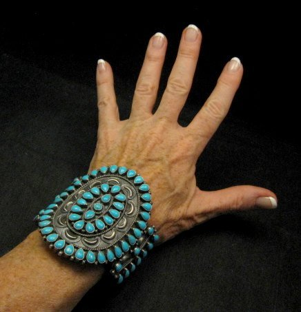 Image 4 of Huge Navajo Native American Silver & Turquoise Cluster Bracelet, Anthony Skeets