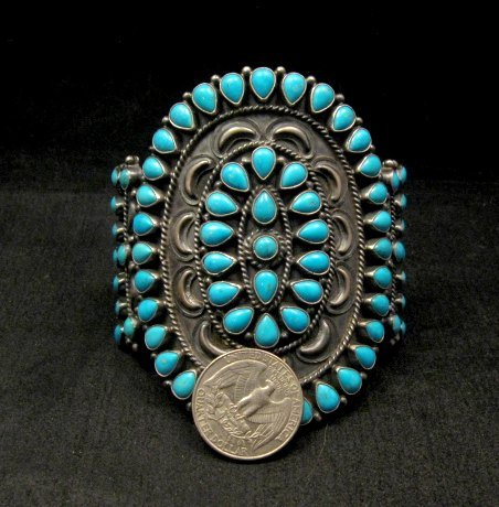 Image 6 of Huge Navajo Native American Silver & Turquoise Cluster Bracelet, Anthony Skeets
