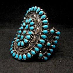 Huge Navajo Native American Silver & Turquoise Cluster Bracelet, Anthony Skeets