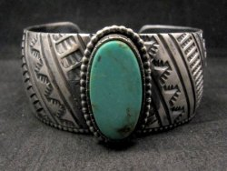 Large Navajo Handmade Sterling Silver Kingman Turquoise Bracelet Lionel Dabbs