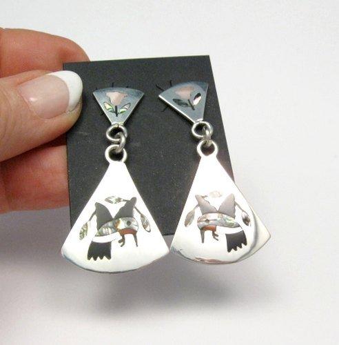 Image 1 of Native American Earrings Hummingbird Sterling Silver Inlay Zuni Sanford Edaakie