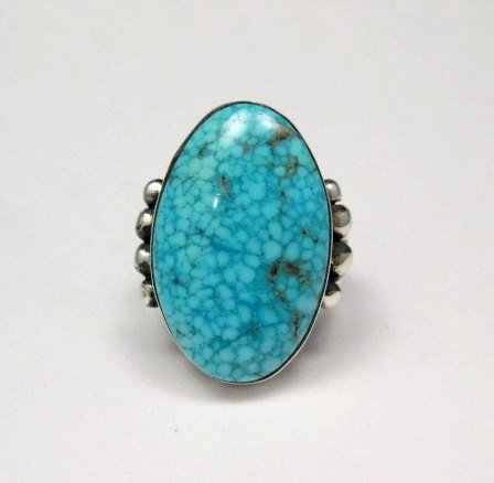 Image 0 of A++ Orville Tsinnie Navajo Native American Kingman Turquoise Silver Ring sz11