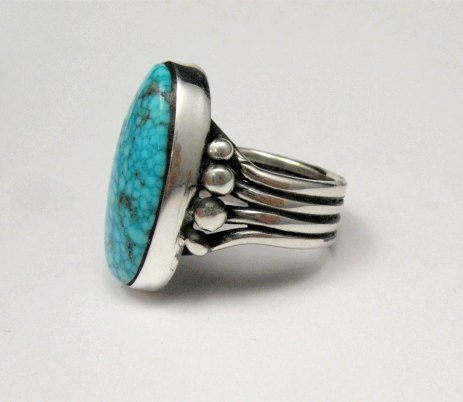 Image 3 of A++ Orville Tsinnie Navajo Native American Kingman Turquoise Silver Ring sz11