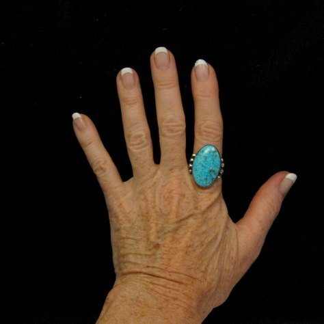 Image 1 of A++ Orville Tsinnie Navajo Native American Kingman Turquoise Silver Ring sz11