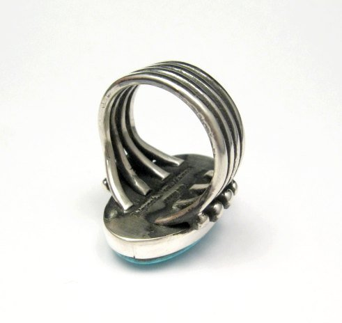 Image 5 of A++ Orville Tsinnie Navajo Native American Kingman Turquoise Silver Ring sz11