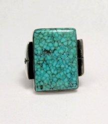 Orville Tsinnie Navajo Native American Kingman Turquoise Silver Ring sz12-1/4