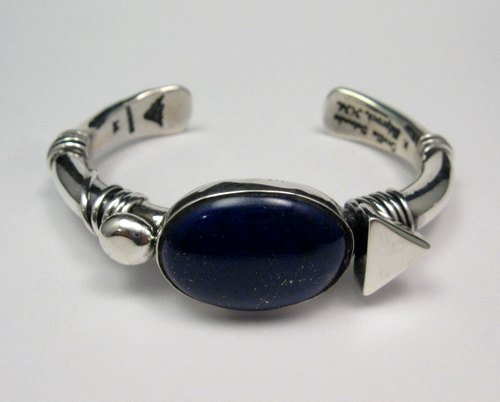 Image 0 of Orville Tsinnie Navajo Native American Lapis Silver Wrap Bracelet, Medium