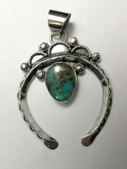 Image 1 of Navajo Naja Pendant Turquoise Silver by Everett & Mary Teller