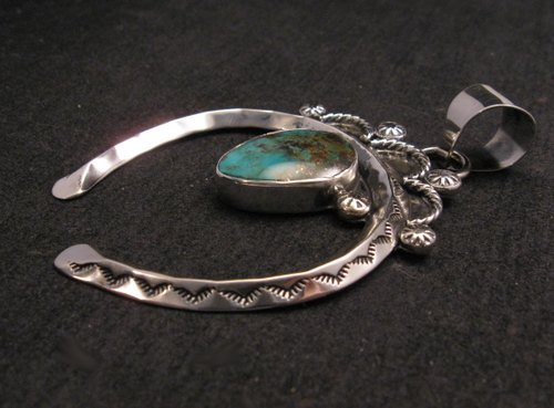 Image 2 of Navajo Naja Pendant Turquoise Silver by Everett & Mary Teller