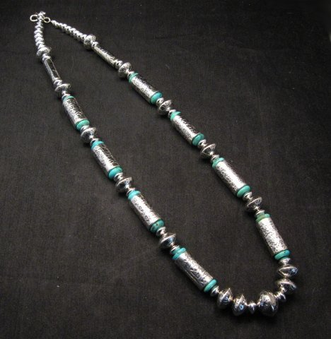 Image 1 of Navajo Native American Silver Barrel Turquoise Necklace Everett & Mary Teller