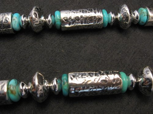 Image 3 of Navajo Native American Silver Barrel Turquoise Necklace Everett & Mary Teller