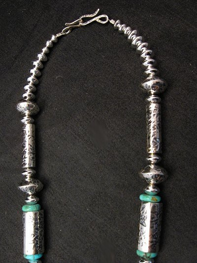 Image 4 of Navajo Native American Silver Barrel Turquoise Necklace Everett & Mary Teller
