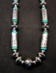 Navajo Native American Silver Barrel Turquoise Necklace Everett & Mary Teller
