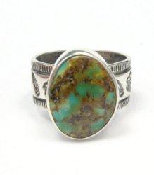 Navajo Native American Turquoise Mens Ring, Travis EMT Teller, sz12