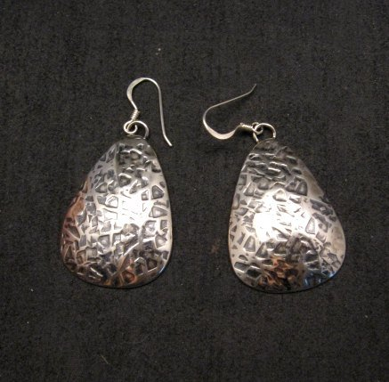 Image 0 of Navajo Native American Hammered Silver Earrings, Everett & Mary Teller