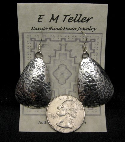 Image 1 of Navajo Native American Hammered Silver Earrings, Everett & Mary Teller