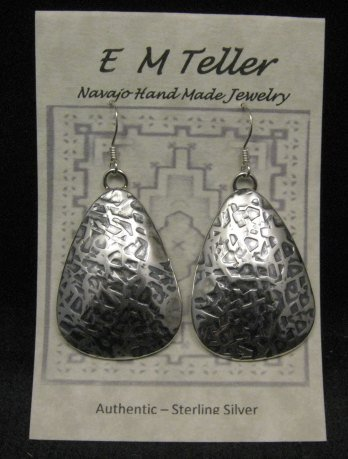 Image 2 of Navajo Native American Hammered Silver Earrings, Everett & Mary Teller