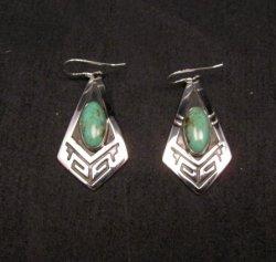 Navajo Turquoise Sterling Silver Overlay Earrings, Mary & Everett Teller