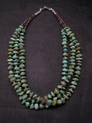 3-Strand Turquoise Nugget Shell Heishi Necklace, Everett & Mary Teller Navajo