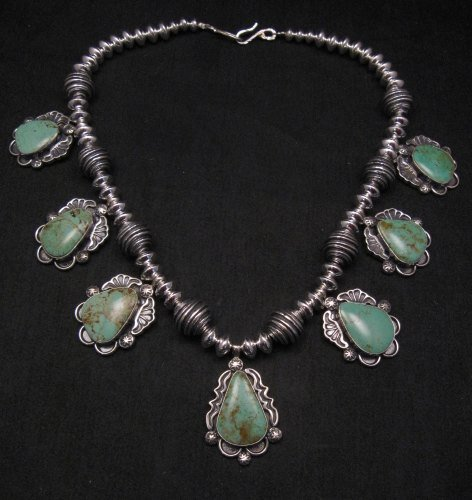 Image 0 of Navajo Native American Turquoise Silver Bead Necklace, Everett & Mary Teller