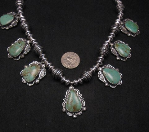 Image 1 of Navajo Native American Turquoise Silver Bead Necklace, Everett & Mary Teller