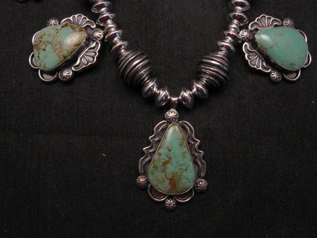 Image 3 of Navajo Native American Turquoise Silver Bead Necklace, Everett & Mary Teller