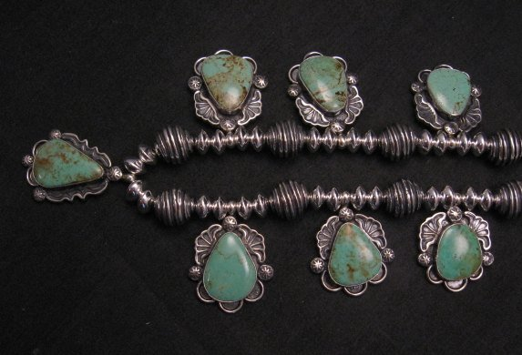 Image 4 of Navajo Native American Turquoise Silver Bead Necklace, Everett & Mary Teller