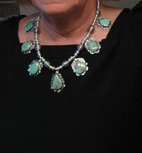 Image 2 of Navajo Native American Turquoise Silver Bead Necklace, Everett & Mary Teller